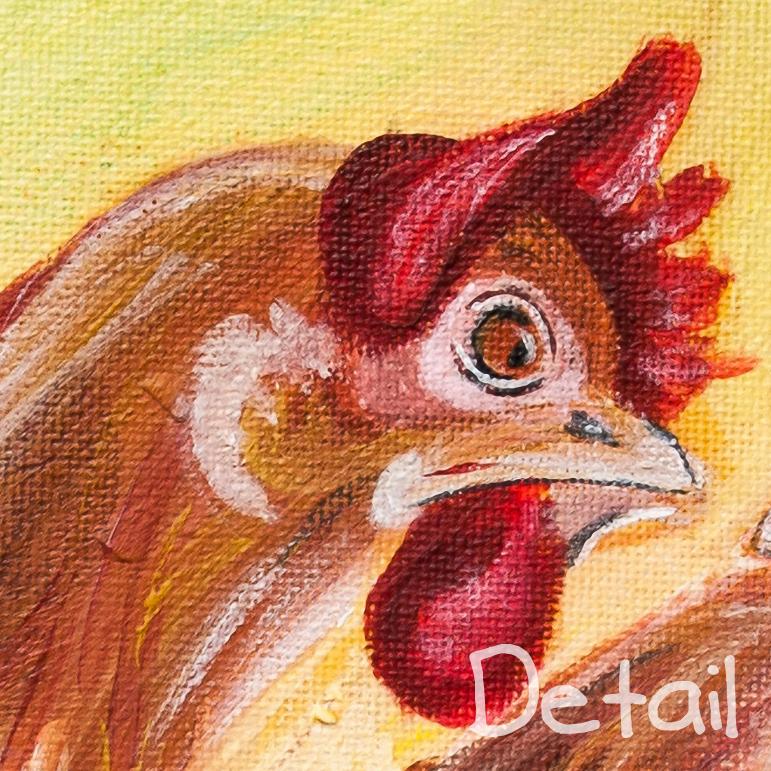"""Kunstdruck Hühner """"Klatschtanten"""" Leinwand 40x40 cm zu ..."""