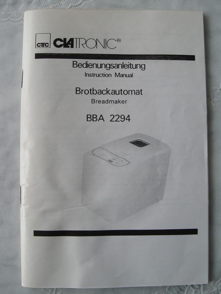 clatronic brotbackautomat bedienungsanleitung