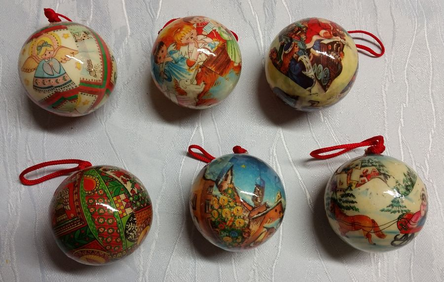 6 x weihnachtsbaumkugel christbaumkugel alt aus pappe for Alte weihnachtsbaumkugeln