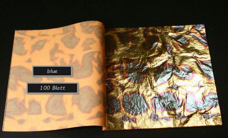 Blattgold Blue Geflammt 100 Blatt Top Qualität Hobby Basteln