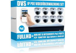 All in one videouberwachung set mit 8x ip poe dome kameras mit nachtsicht v2 videouberwachung set