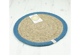 Round seagrass jute tablemat naturaldenim 1